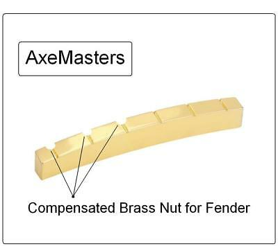AxeMasters COMPENSATED CURVED Brass Nut made for Fender Strat Tele Guitar