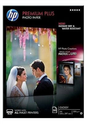 HP Premium Plus (A4) Glossy Photo Paper (50 Sheets) (White)