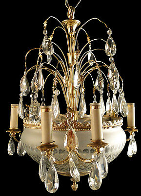 Antique French chandelier Empire style bronze Glass plafonnier & crystal pieces