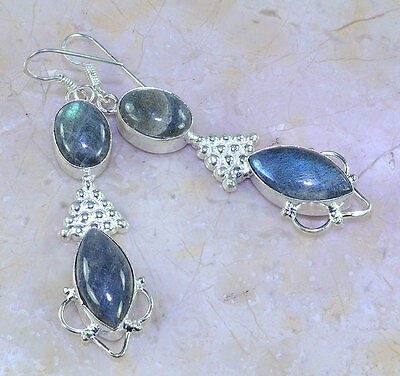 Gorgeous Genuine Top Quality Blue Fire Labradorite 925 Silver Dangle Earrings 3""