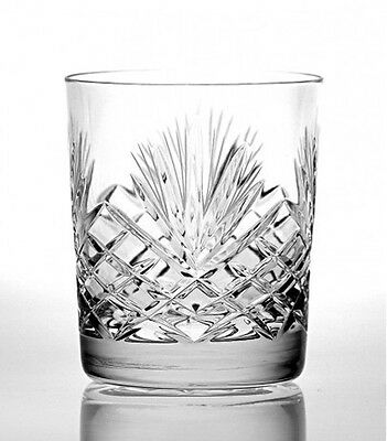 TWO HAND CUT WHISKY SPIRITS TUMBLERS 280ml Fine 24% Lead Crystal Glass NEW
