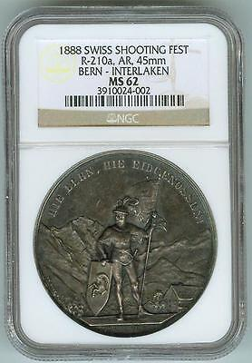 Rare NGC MS62 1888 Swiss Shooting Festival R-210a 45 mm Medal Bern-Interlaken.