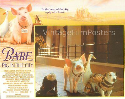 BABE: PIG IN THE CITY, orig mint '98 Lobby Card Set, George Miller's TALKING PIG