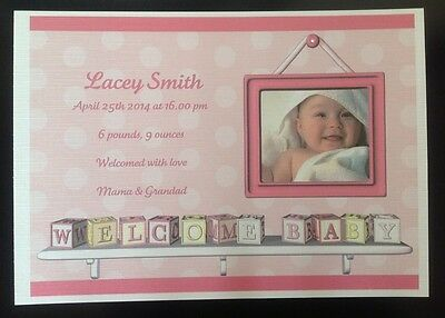 New Baby Personalised Card Keepsake , Own Photo, Gift, Certificate, Photo