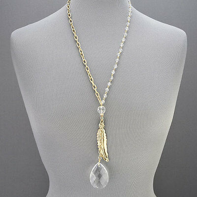 Antique Gold Chain Tear Drop Shaped Clear Stone Feather Pendant Necklace