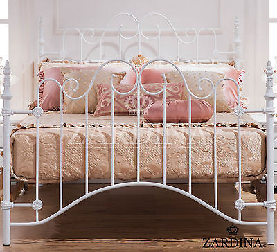 Elisa Iron Metal Bed – 4ft6 Double in (White)