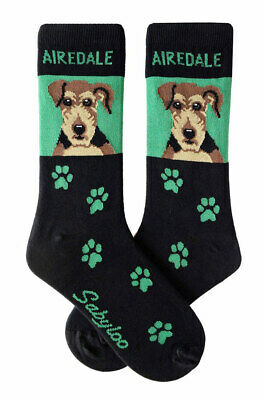 Airedale Socks Lightweight Cotton Crew Stretch Egyptian Made