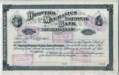 Drovers & Mechanics National Bank of Baltimore Stock Certificate