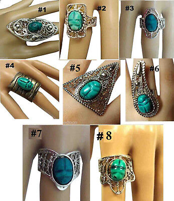 Scarab Brass Ring Egyptian ADJ Beetle Gypsy Ethnic Tribal Handmade Antique   105