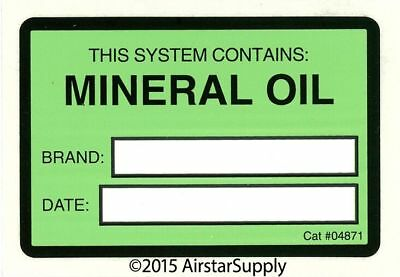 Mineral Oil Lubricant Label # 04871 System Identification Label , Sold Each