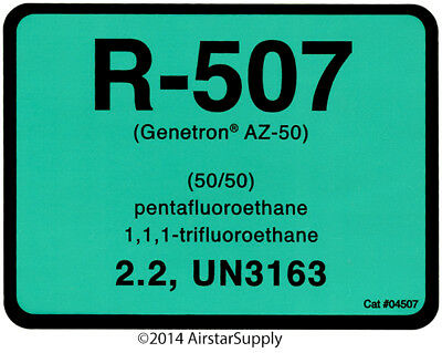 R-507 / R507 (Genetron AZ-50) # 04507 Refrigerant Label , SOLD EACH