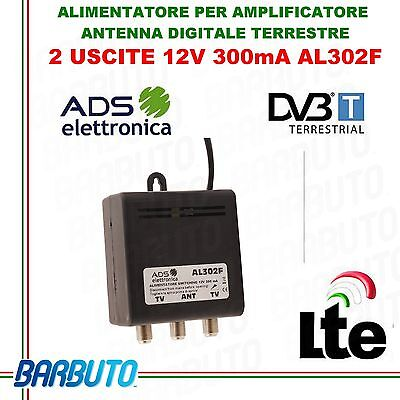 ALIMENTATORE PER AMPLIFICATORE ANTENNA DIGITALE TERRESTRE 12V 2OUT 300mA