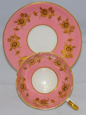 Aynsley Pink and White Gold Leaf Tea Cup And Saucer