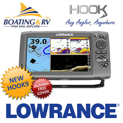 Lowrance HOOK 9 CHIRP Fish Finder / Chart Plotter combo + Trans + Free Cover