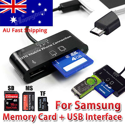 Micro USB OTG Hub SD Card Reader Adapter Phone Tablet Samsung Galaxy S6 S7 Tab