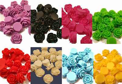 20 x SPARKLY FLAT BACK RESIN ROSE BUD FLOWER 13MM x 8MM CABOCHONS 10 COLOURS