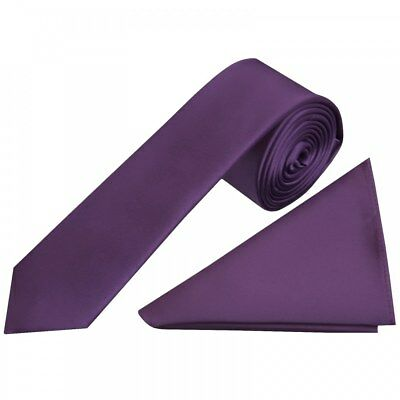 TiesRus Plain Purple Satin Skinny Men's Tie and Handkerchief Set Neck Tie