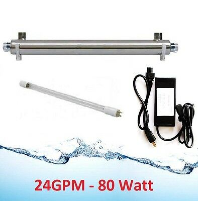 Whole House Ultraviolet Filter UV Water Sterilizer Purifier Up To 24GPM