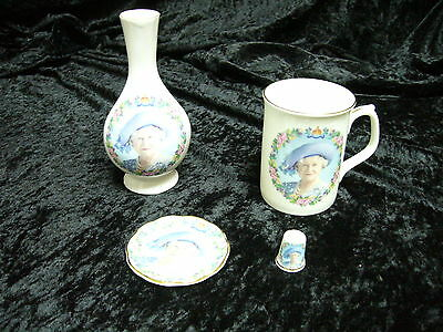Queen Mother (873) Vase Cup Plate Thimble Set Bone China 100th Birthday