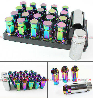20Pcs Jdm Closed End Neo Chrome Wheel Rim Lug Nut + Key For Infiniti Q50 Q60 S