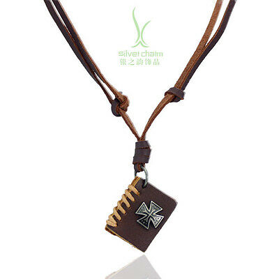 2015 Fine Genuine Leather Choker Necklace With Cross Book Pendants Sweater Cord