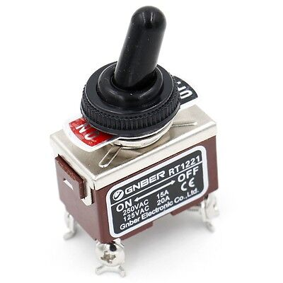 Toggle Switch AC 250V 15A DPST ON/OFF 4 Screw Terminals with Waterproof Boot