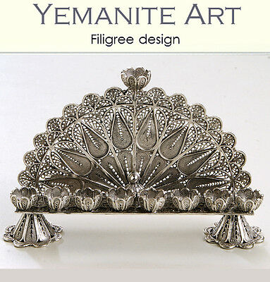 925 Handmade Sterling Silver Hanukkah Menorah Filigree Artisan, Yemenite Art