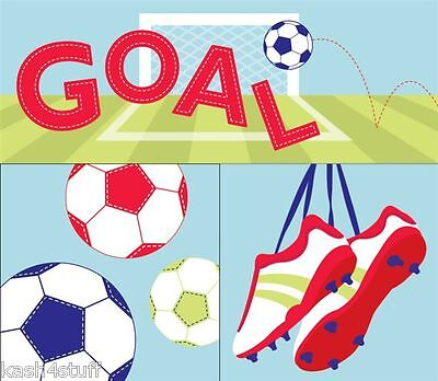 Goals Football Childrens Bedroom Canvas Wall Art Pictures Set of 3