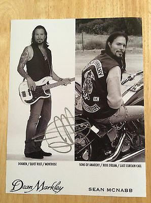 SIGNED Sean McNabb Promotional Photo Guitarist Dokken Quiet Riot Sons of Anarchy