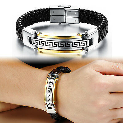 Genuine Leather And Stainless Steel Mens Clasp Bracelet Gold Silver 8.66''