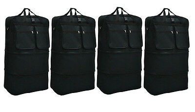 """4-Pack 36"""" Black Rolling Wheeled Duffle Expandable Bag Spinner Suitcase Luggage"""