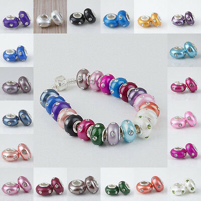 Mix Color Fimo Polymer Clay Crystal Rhinestone European Loose Bead Fit Bracelet