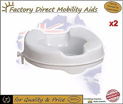 """2 x Toilet Seat Raiser 2"""" 50mm Without Lid easy clip on"""