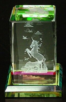 Mini Laser Cut Glass Crystal Cube with Unicorn on Colored Base