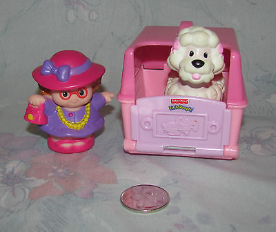 Fisher Price Little People Pink White Poodle, Carrier, Fancy Lady Owner - Dog
