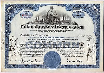 Follansbee Steel Corporation Stock Certificate Delaware