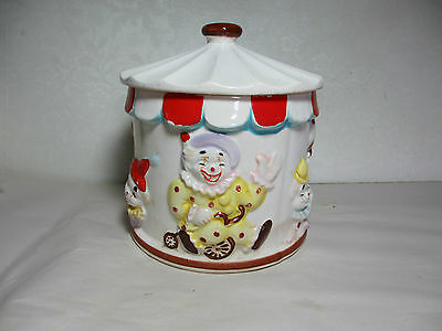 Vintage Napco Cookie Jar Circus Tent # 2K3296 Happy Clowns Wear to Cold Paint