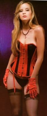 Red & Black Burlesque Rear Lace Up Boned Corset & G-String Small/Medium #90697