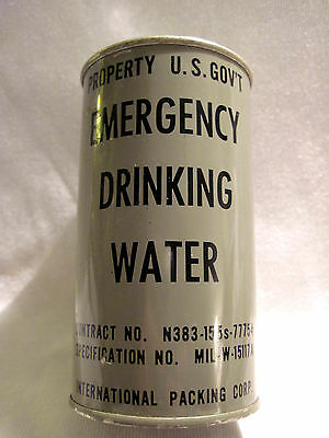 Full Metal Can 1950's US Gov't Emergency Drinking Water For Bomb Shelter