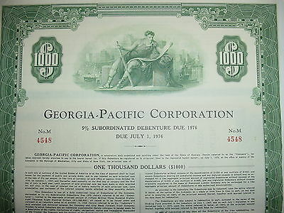 Georgia-Pacific Corporation $1,000 Bond Stock Certificate