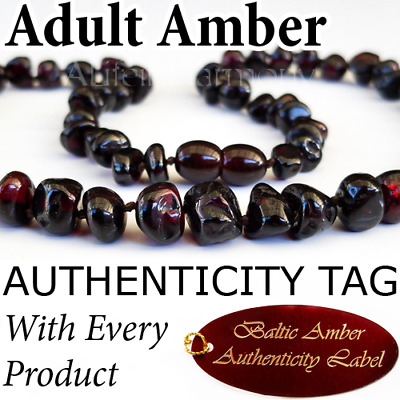 RARE Crimson Black Baltic Amber ADULT NECKLACE Natural Health Breastfeeding