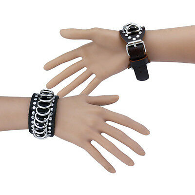 Unisex Punk Studded Metal Circle Rings Buckle Leather Cuff Wristband Bracelet