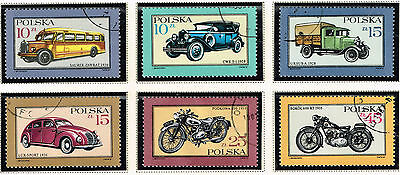 Poland Cars Motorcycles stamps set 1987