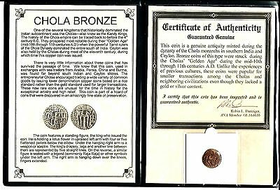 11th CAD bronze coin of the Chola Dynasty that ruled south India,&certif & Album
