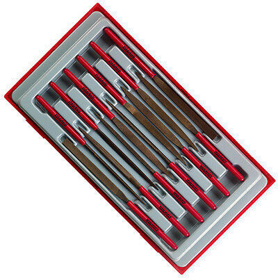 TENG TOOLS 12 Pce. NEEDLE FILE SET in Plastic Tray & Case TTNF12