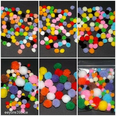 POM POMS 6, 8, 10, 20mm or Mixed Assorted Colours & Sizes Halloween Xmas Crafts