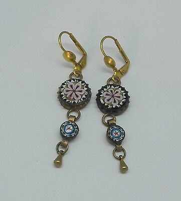 Vintage Drop Dangle Flowers Stars Victorian Style Micro Mosaic Earrings