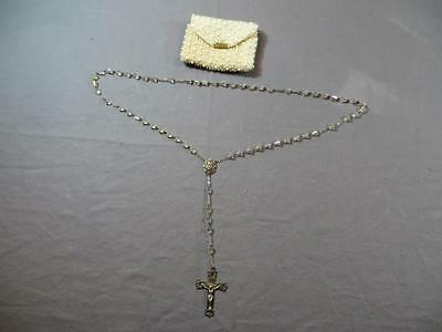 Vintage Sterling Silver Rosary w/ Beaded White Bag Catholic Bells