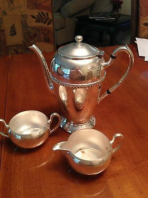 Academy Silver on copper Coffee Pot and creamer & sugar