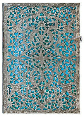 "Paperblanks Journal Silver Filigree ""Maya Blue"" Lined Midi 5x7 Book New Writing"